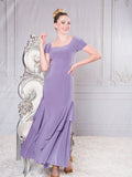 D003- LONG CAP SLEEVE PRINCESS CUT LONG BALLROOM PRACTICE DRESS BY DANCE AMERICA WITH SQUARE NECKLINE AND SHORT SLEEVES