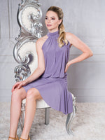 D004 - JACKIE ROUCHED LATIN PRACTICE DRESS WITH HALTER STOP AND SOFT HEM BY DANCE AMERICA