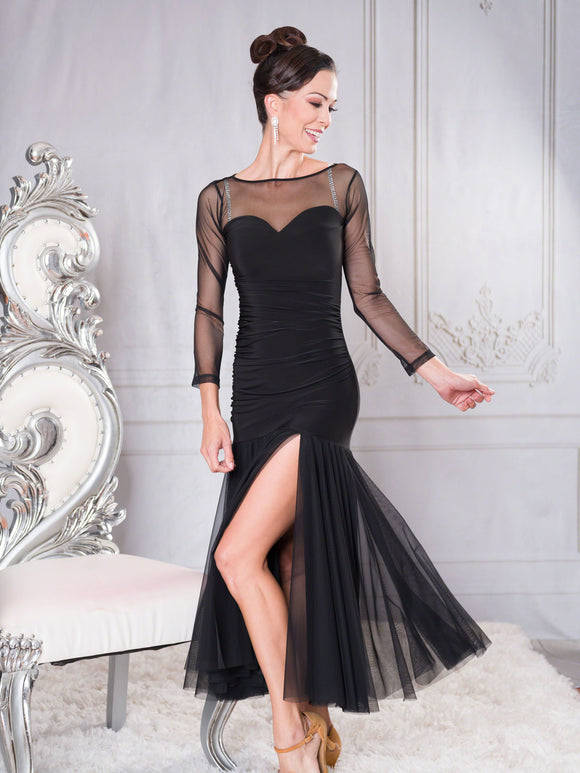 D006 - LONG RUCHED SWEETHEART BALLROOM PRACTICE DRESS BY DANCE AMERICA WITH LONG MESH SKIRT AND SEXY SLIT