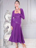 D008 - LONG SQUARE NECK BALLROOM DANCE DRESS BY DANCE AMERICA WITH RHINESTONE BELT DETAIL AND LONG SLEEVES