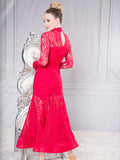 D010 - LONG ANGELICA WOMENS BALLROOM DANCE PRACTICE DRESS BY DANCE AMERICA WITH LONG SLEEVES AND HIGH COLLAR NECKLINE
