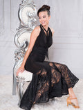 D013 - LONG REVERSIBLE HALTER CORSET BALLROOM DANCE PRACTICE DRESS BY DANCE AMERICA WITH TRANSPARENT SKIRT