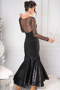 Femme Fatale Black Ballroom Gown by Dance America With Long Mesh Sleeves and Sequins Skirt D901_in
