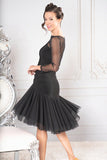 Short Ruched Sweetheart Dance America Dress with Long Mesh Sleeves, Top and Back D907_in