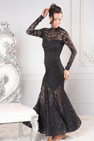 Long Angelica Dance America Ballroom Practice Dress With Lace Skirt, Sleeves and High Neck D910_in