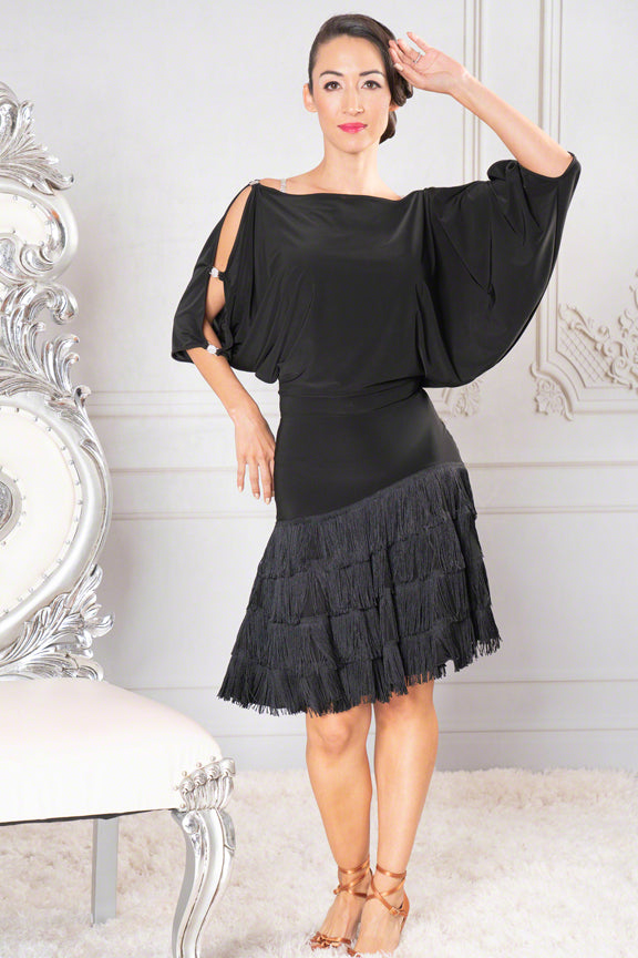 Blouson Dance America Dress with Fringe Skirt and Rhinestone cut Out Sleeves D912_in