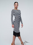 Long Sleeve Black and White Zig Zag Practice Dress with Fringe Pra300