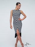 Short Sleeve Black and White Zig Zag Practice Dress With Fringe Pra299