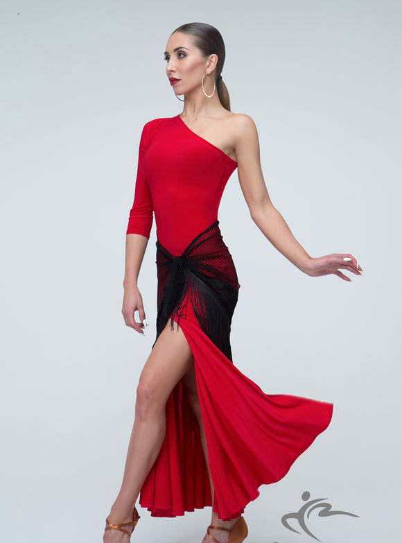 Single Sleeve Ballroom Dress with High Leg Slit with Optional Tie Shawl Skirt Pra302