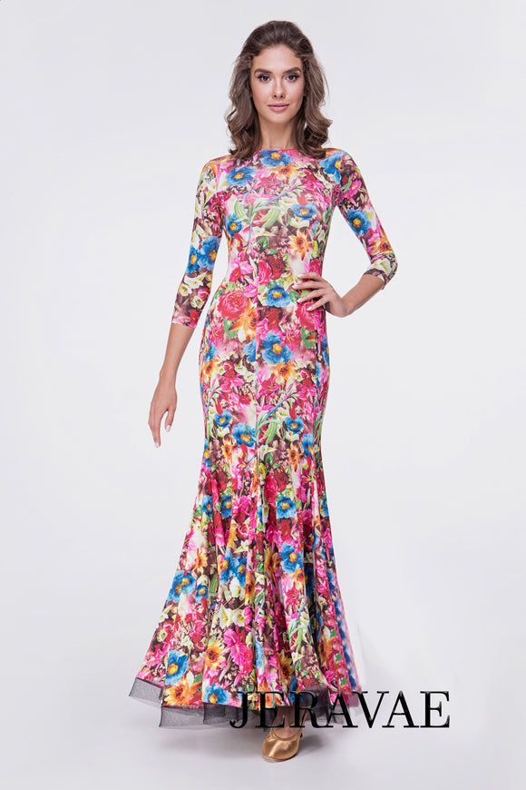 Beautiful Floral Long Ballroom Practice Dress with Horsehair Hem and 3/4 Length Sleeves Pra621