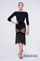 Fishnet Latin Practice Skirt with Velvet Accents and Fringe Hem. Features Wrapped Elastic Hem For Comfortable Fit Pra641