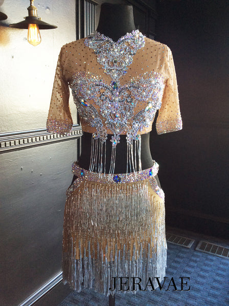 Nude 2 Piece Latin Dress with Bugle Beads, White Appliques and Swarovski Stones Lat114