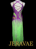 Neon Green and Fuchsia Purple Long Fringe Latin Dress Lat203 Medium