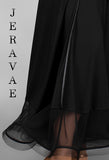 Long Black Ballroom Practice Skirt with Satin Detailing and Horsehair Hem Size 44 Pra016_in