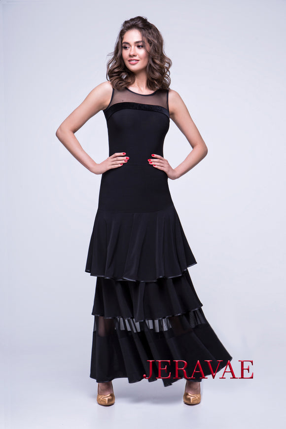 Ballroom Practice Skirt with Three Tier Ruffles and Sheer Section with Ribbon Hem Pra559