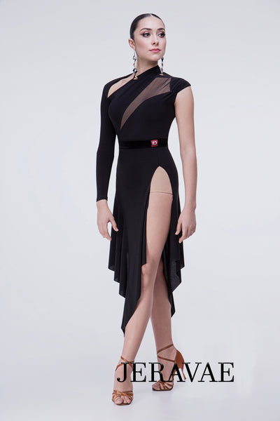 Black Latin Dress with One Cap Sleeve, One Long Sleeve, and Unique Cutouts at the Neck Pra521