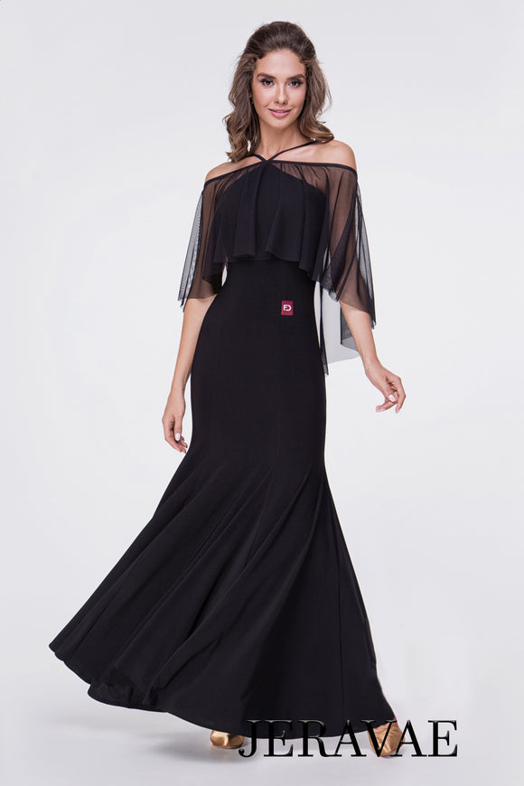 Long Black Ballroom or Smooth Practice Dress with Mesh Ruffle and Cold Shoulder Detail  Pra369