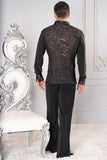 Mens Loose Soft Collar Embroidery Ballroom Shirt With Snap Closure MS25