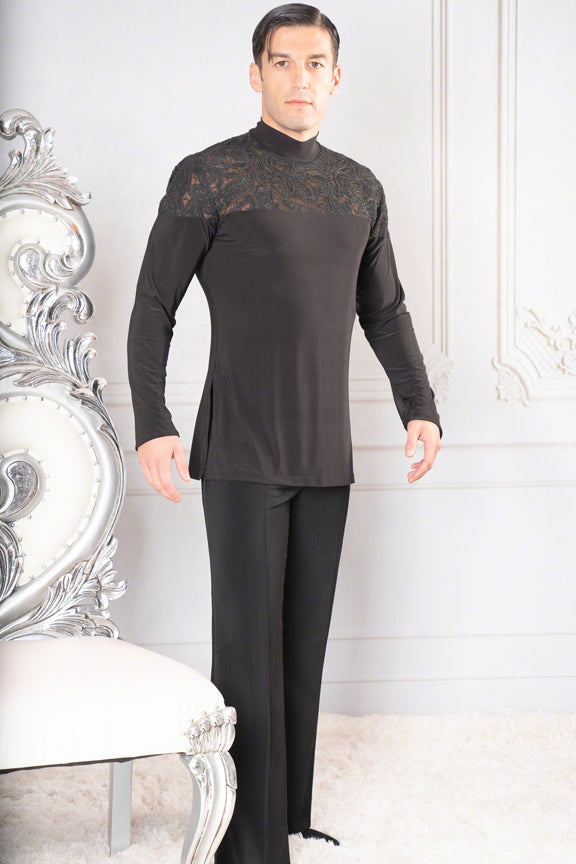 Mens Mock Turtle Neck Embroidery Yoke Dance America Tunic MS37