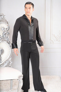Mens Simple Satin Collard Zipper Closure Dance America Shirt with Bodysuit/Trunks MS42