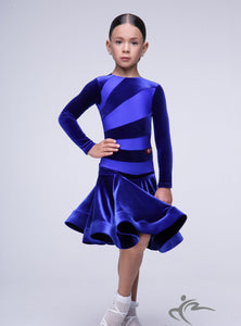 Girls Velvet and Lycra Long Sleeve Dress With Horse Hair Trim BRK008