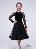 Girls Black Dress with Strech Velvet and Mesh BRK003