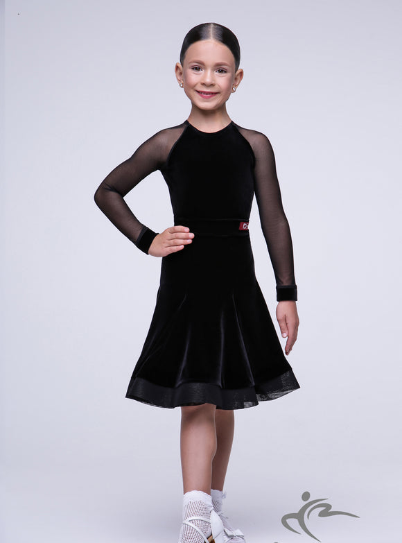 Girls Black Strech Velvet Dress with Horse Hair Hem BRK006