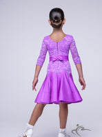 Pink Girls Dress with a Belt Lace Body and Sleeves BRK002