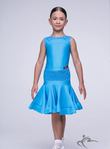 Light Blue Girls Sleeveless Dress with Lace Detail BRK012