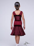 Maroon Girls Sleeveless Dress with Lace and Velvet Detail BRK013