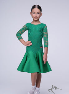 Emeral Green Girls Practice Dress with Lace Body and Sleevs BRK001
