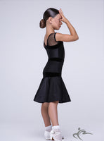Girls Black Dress With Fishnet Straps and Fishnet Details BRK007