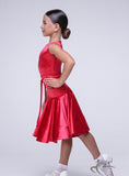 Girls Red Strech Velvet Sleevless Dress with Belt BRK014