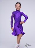 Purple Girls Long Sleeve Dress With Lace Detail and One Lace Sleeve BRK015
