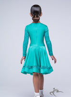 Girls Teal Bravo Long Sleeve Dress with Lace Sleeves and Lace Detail BRK009