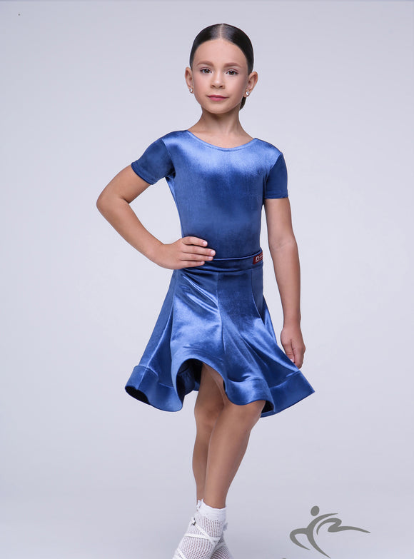 Girls Short Sleeve Velvet Dress BRK010
