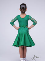 Emerald Green Girls Practice Dress with Lace Body and Sleeves BRK001