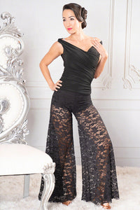 Stretch Lace Palazzo Ballroom or Latin Pant by Dance America P202