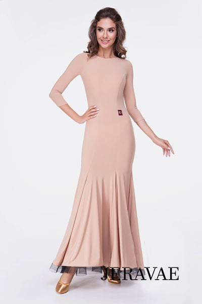 Classy Ballroom Practice Dress with 3/4 Sleeves and Horsehair Hem in Light Peach Pra622