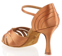 Dance Feel Paris Elite Open Toe Latin or Rhythm Shoe with Woven Pattern and Thin 2.5 inch Flared Heel