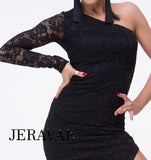 Black Lace Latin or Rhythm Practice Dress with Asymmetrical Skirt with See-Through Single Sleeve Pra395