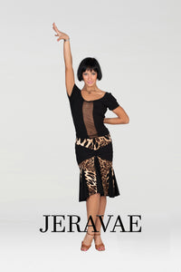 Leopard Animal Print Latin Practice Skirt With Black Gussets and Gathered Front Detail.  Pra443