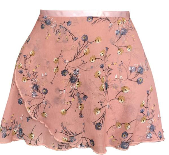 Xena Ballet Tutu Wrap Practice Skirt Made with Floral Chiffon and Satin Ribbon Tie