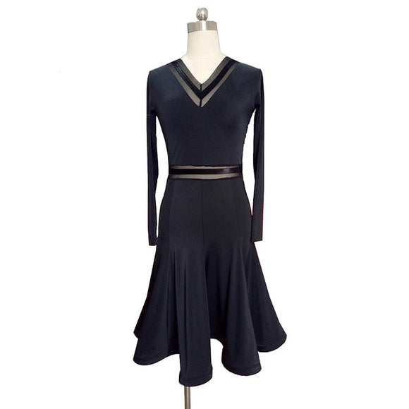 Black Latin Practice Dress with Long Sleeves and Ribbon Detail on Neckline and Waist. Available in S-XL Pra378