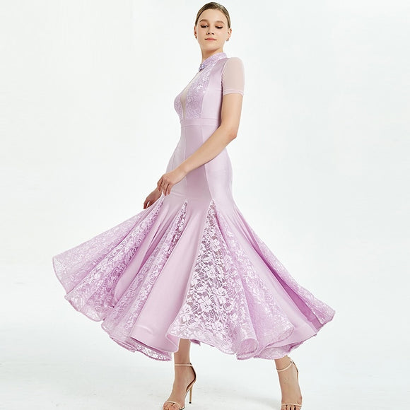 Beautiful Ballroom Practice Dress with Short Sleeves and Floral Inserts. Available in 3 Colors and Sizes S-XXL Pra354