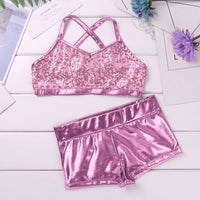 Barbra Girls Sequins Crop Top and Dance Pants Shorts Set Available in 5 Colors and Ages 5-14