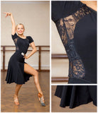 Black Or Green Latin Practice Dress with Stretch Lace Back and Accents.  Features Short Sleeves and Side Slit in Skirt Pra653