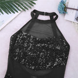 Bianca Women Adult Sleeveless Halter Neck Sequin and Mesh Ballet, Jazz, Tap or Tumbling  Dance Leotard  Available in Black or Red
