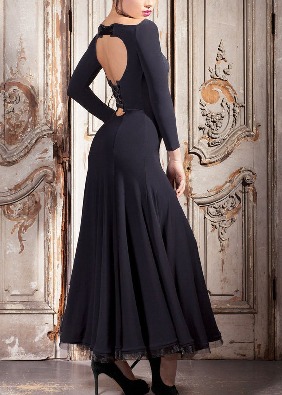 Long Ballroom Or Smooth Practice Dress with Long Sleeves and Lace Up Back.  Available in 4 Colors and S-3X Pra380