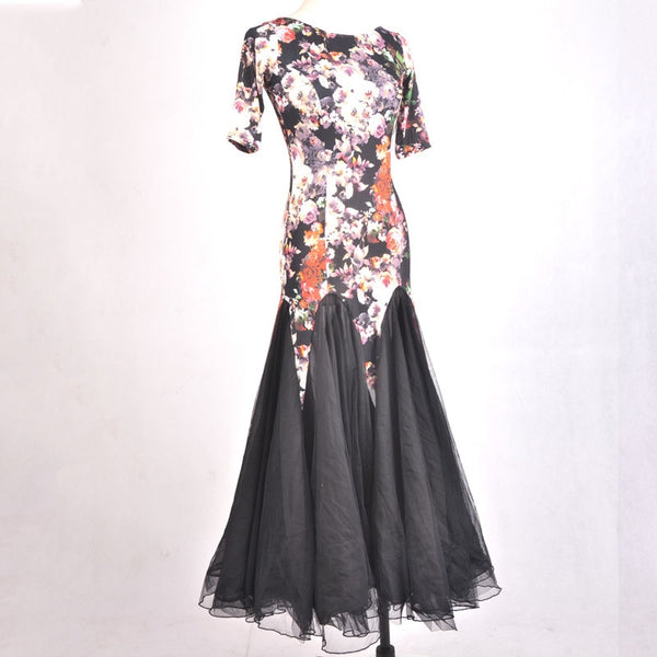 Black Floral Ballroom Practice Dress with Short Sleeves and Scoop Neck. Available in Sizes S-3XL Pra377